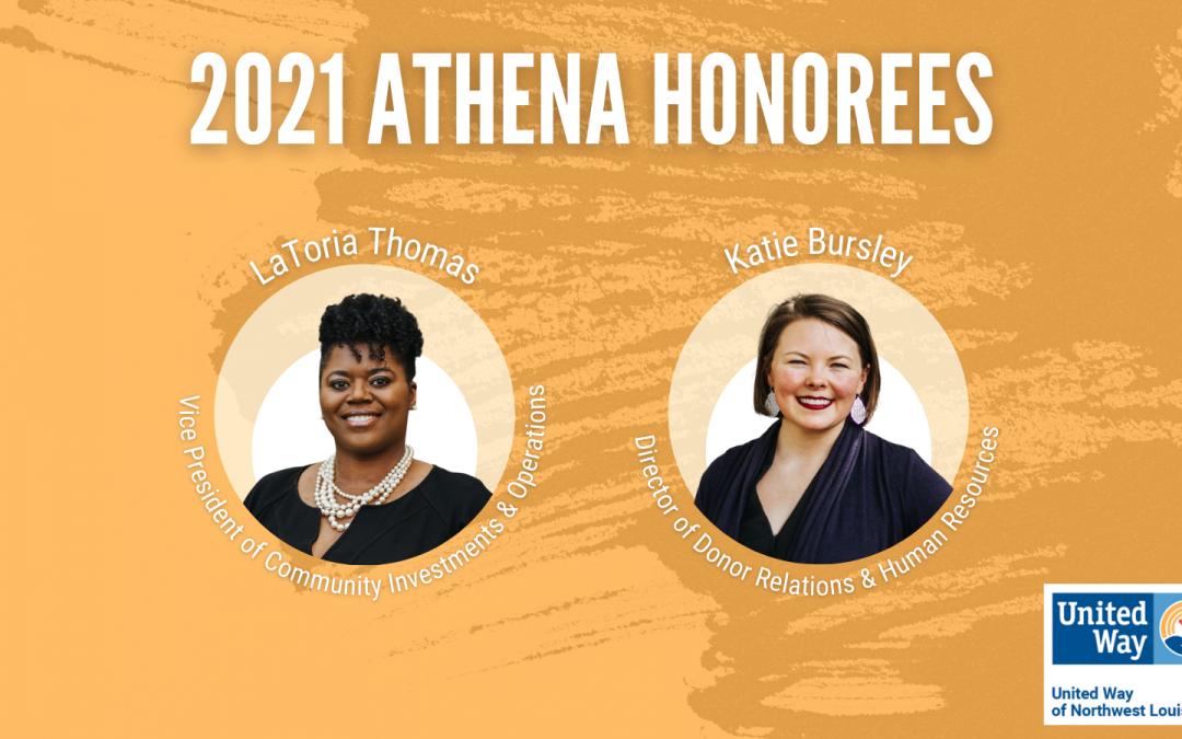 UNITED WAY'S LATORIA THOMAS AND KATIE BURSLEY ANNOUCED AS ATHENA HONOREES