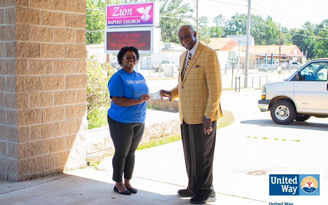 UNITED WAY RECEIVES $3,000 FROM ZION BAPTIST CHURCH FOR HURRICANE IDA RELIEF